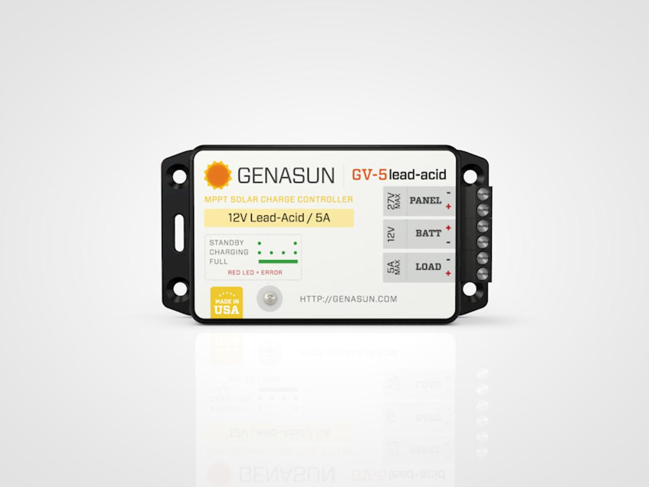 GV-5 | 65W 5A Genasun MPPT Solar Charge Controller - Pb - Front