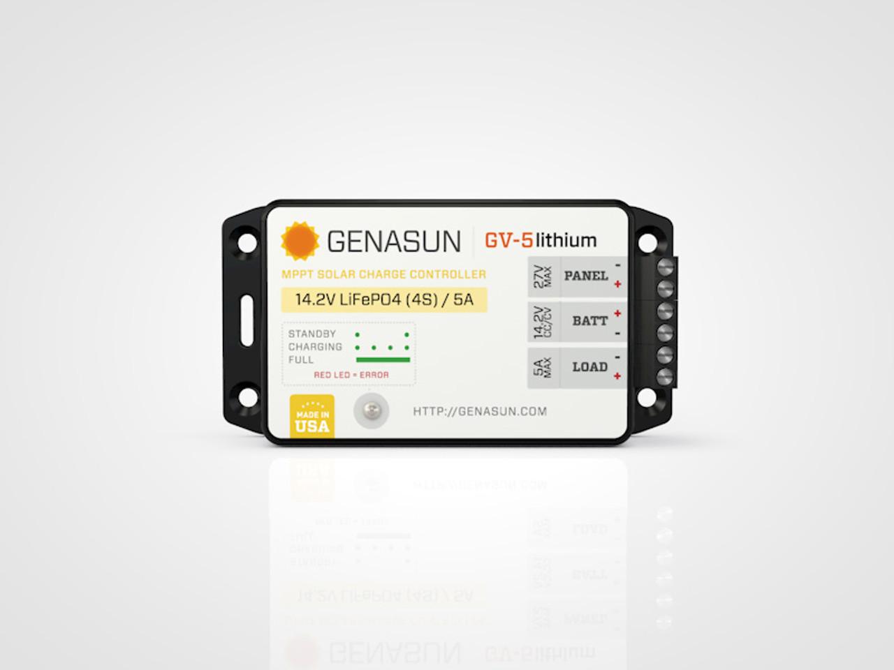 GV-5   65W 5A Genasun MPPT Solar Charge Controller - Li - Front