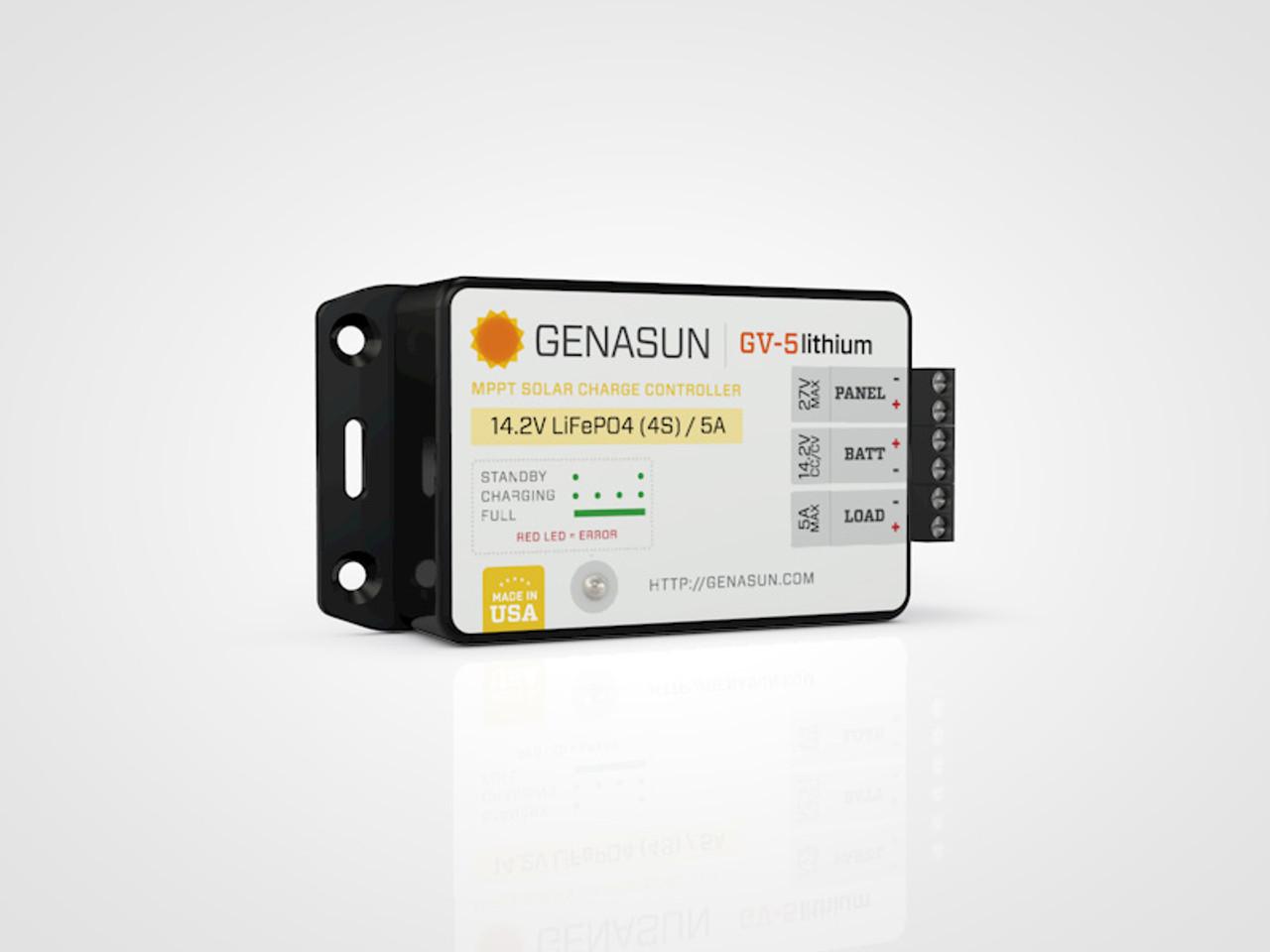 GV-5   65W 5A Genasun MPPT Solar Charge Controller - Li - Left1