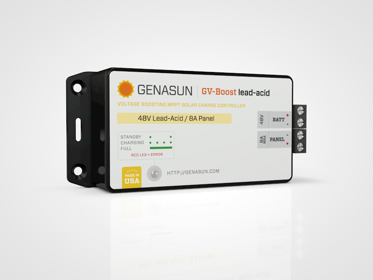 GVB-8   105W 8A 12V Genasun MPPT Boost Solar Charge Controller - Pb - Left1