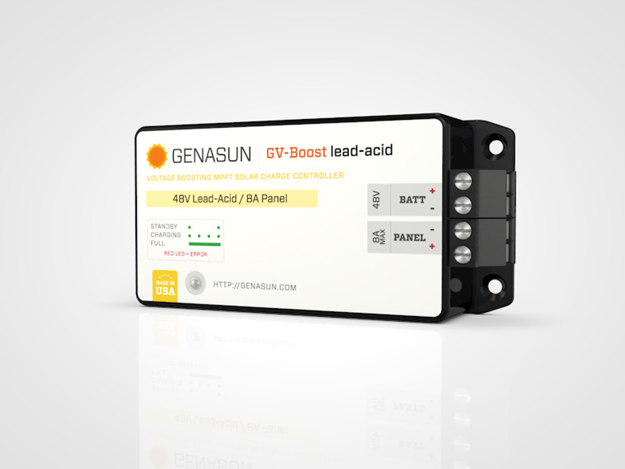 GVB-8   105W 8A 12V Genasun MPPT Boost Solar Charge Controller - Pb - Right2