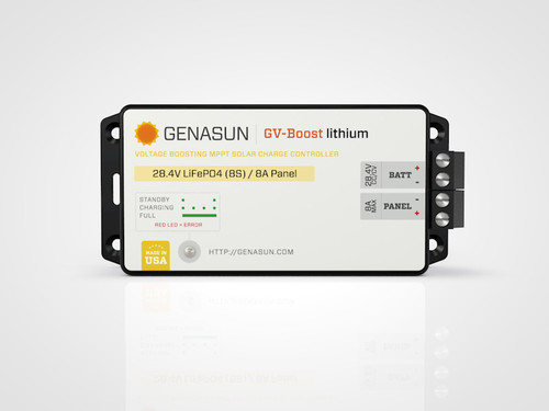 GVB-8 | 105W 8A 12V Genasun MPPT Boost Solar Charge Controller - Li - Front