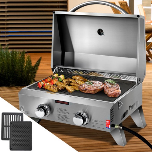 Grillz Portable Gas BBQ LPG Oven Camping Cooker Grill 2 Burners Stove Includes Grill Plate and Flat Plate Outdoor Camper Rv Caravan