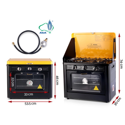 Devanti 3 Burner Portable Gas Oven LPG Camp Stove  - Black & Yellow