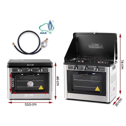 Devanti 3 Burner Portable Gas Oven LPG Camp Stove  - Silver & Black