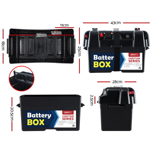 Giantz Standard Battery Box 12V Camping Portable Deep Cycle AGM Universal Large USB Cig Battery Monitor
