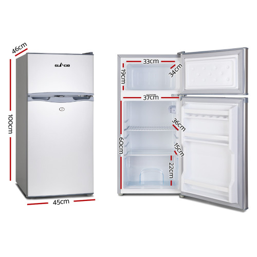 Glacio 100L Fridge Freezer Upright 12V/24V/240V Caravan 4WD Car Camping - White