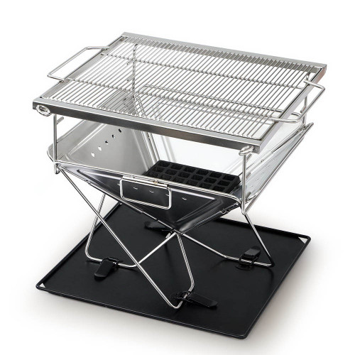 Grillz Portable Camping Fire Pit BBQ Folding Stainless Steel Stove Outdoor