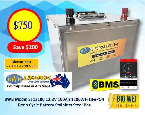 BWB 12.8V 100Ah 1280WH Lithium Iron LiFePO4 Deep Cycle Battery Stainless Box with Bluetooth Monitoring