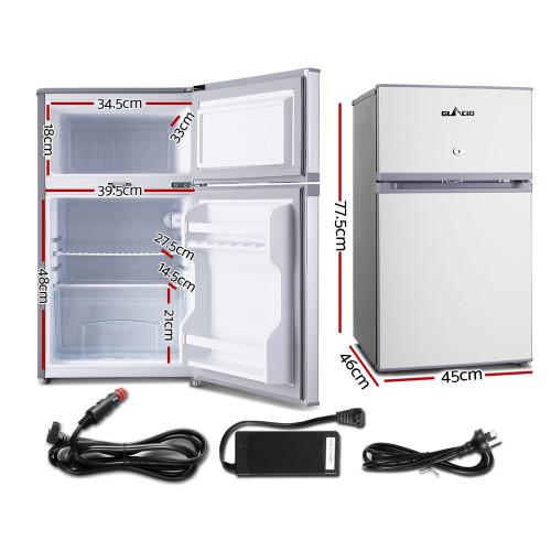 Glacio 65L Fridge Freezer Upright Dual Door 12V/24V/240V Caravan 4WD Car Camping - Silver