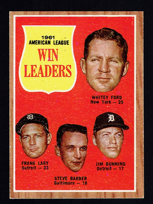 1962 Topps #057 AL Win Leaders Ford Bunning  EX+
