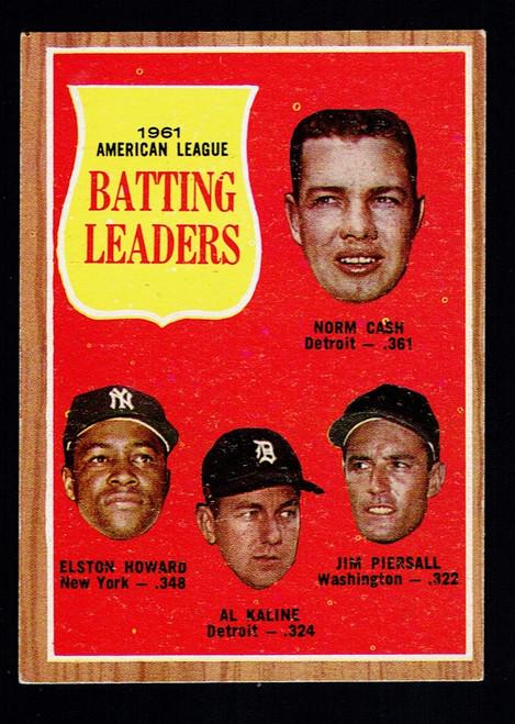 1962 Topps #051 AL Batting Leaders EX Kaline