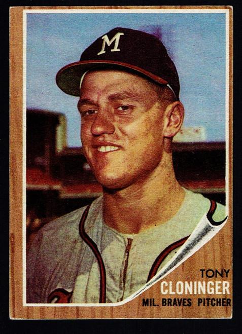 1962 Topps #063 Tony Cloninger RC VGEX
