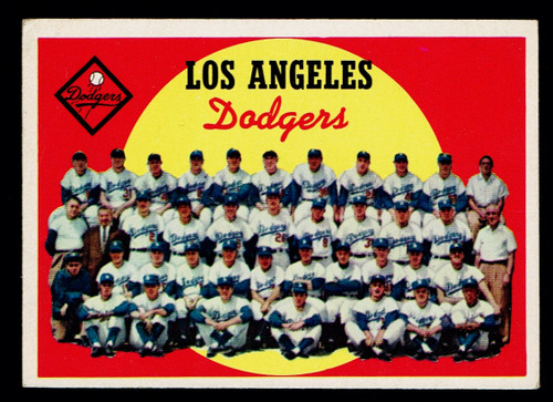 1959 Topps #457 Los Angeles Dodgers Team Unmarked Checklist VGEX