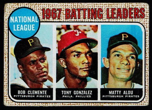 1968 Topps #001 NL Batting Leaders Clemente Poor