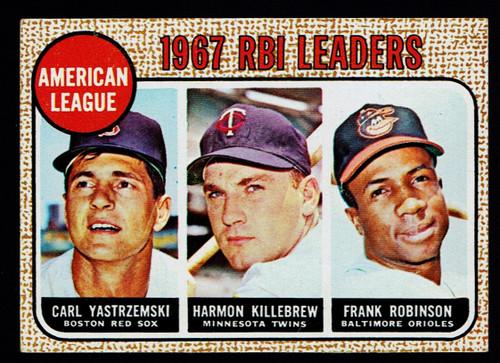 1968 Topps #004 AL RBI Leaders Yastrzemski Killebrew F. Robinson VG