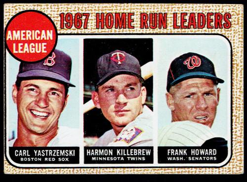 1968 Topps #006 AL Home Run Leaders Yastrzemski Killebrew VG