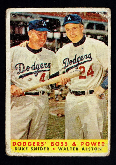 1958 Topps #314 Dodgers' Boss & Power Snider /Alston Poor