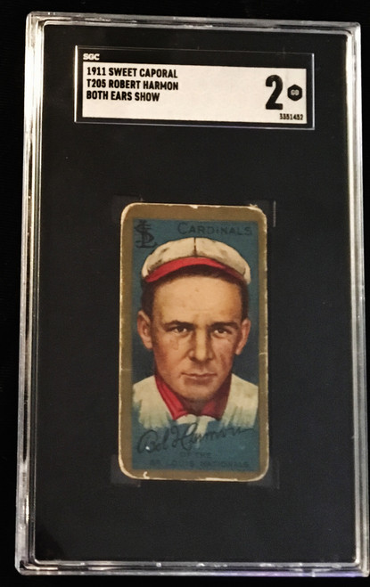1911 T205 Robert Harmon Both Ears Show SGC 2 Sweet Caporal Back