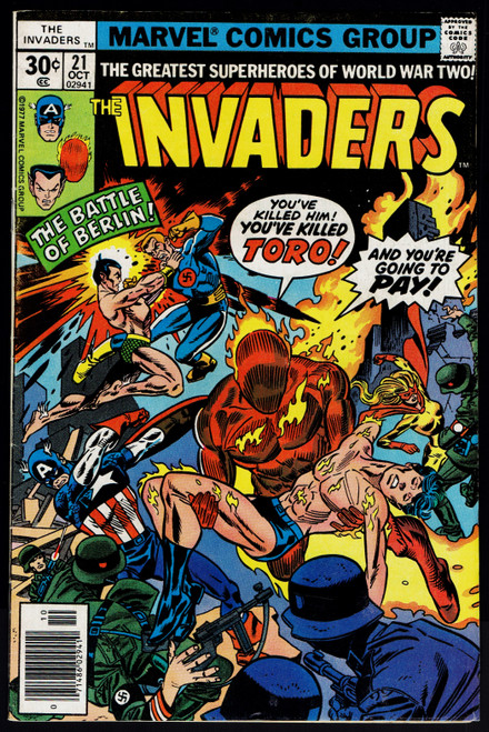 1977 Marvel The Invaders #21 FN