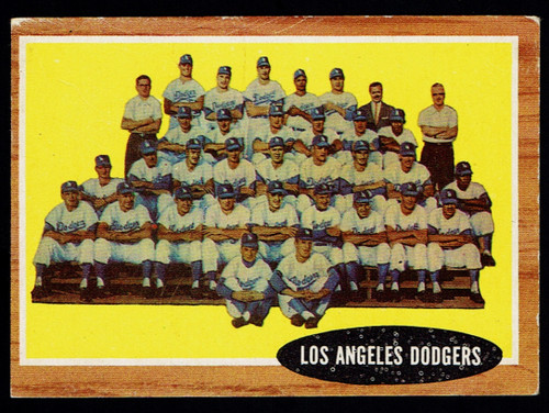 1962 Topps #043 Los Angeles Dodgers Team VG+