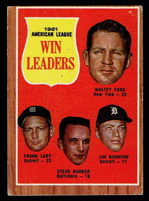 1962 Topps #057 AL Win Leaders Ford Bunning VG