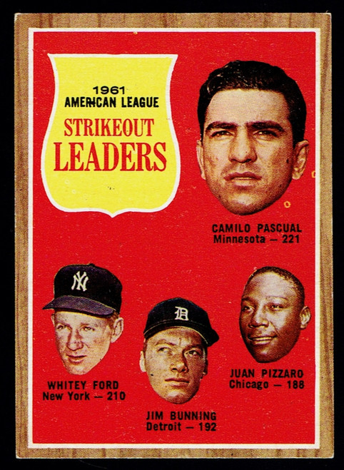 1962 Topps #059 AL Strikeout Leaders Ford Bunning EX-