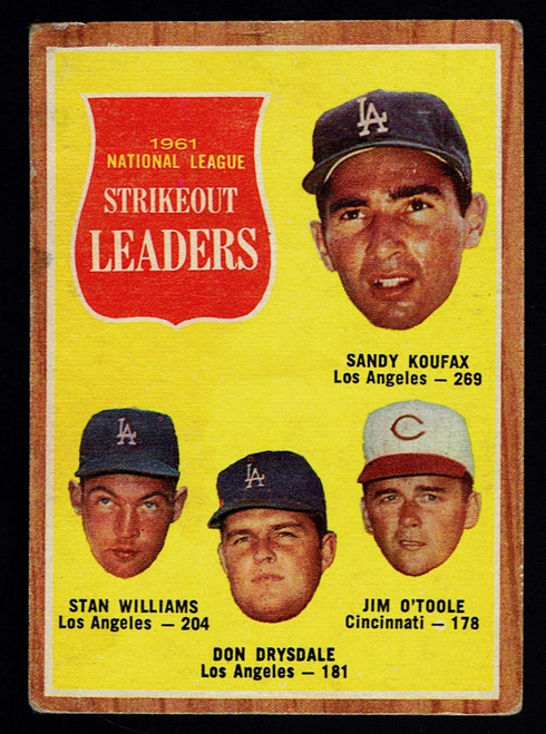 1962 Topps #060 NL Strikeout Leaders Koufax Drysdale GD