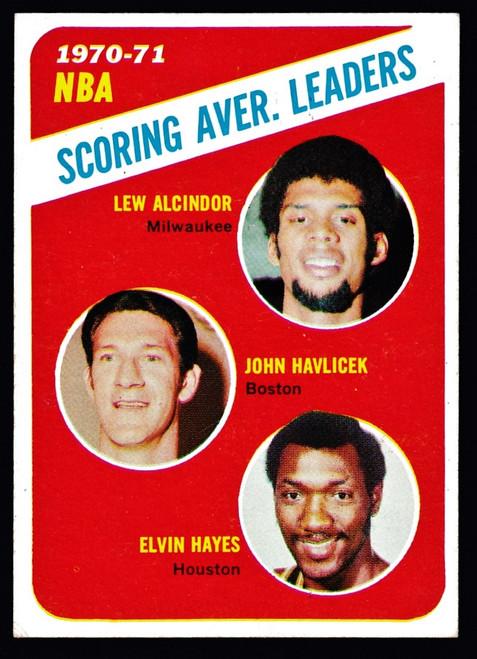 1971 Topps #139 NBA Scoring Average Leaders Alcindor Havlicek VGEX