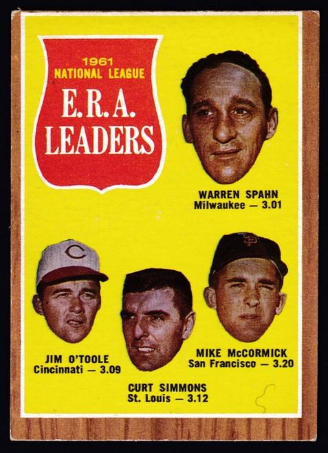 1962 Topps #056 NL ERA Leaders Spahn VG