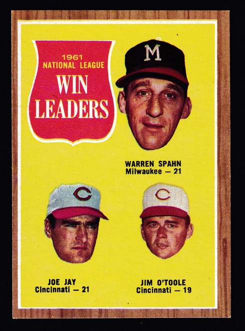 1962 Topps #058 NL ERA Leaders Spahn EXMT