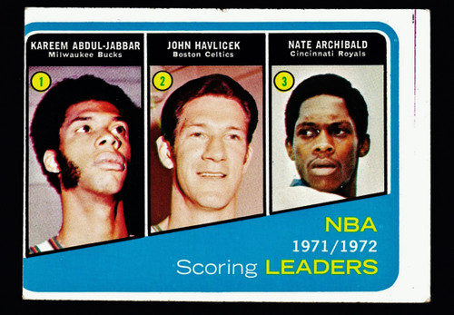 1972 Topps #171 NBA Scoring Leaders Abdul-Jabbar Havlicek Archibald GD
