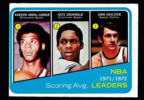 1972 Topps #172 NBA Scoring Average Leaders Abdul-Jabbar Havlicek Archibald Fair
