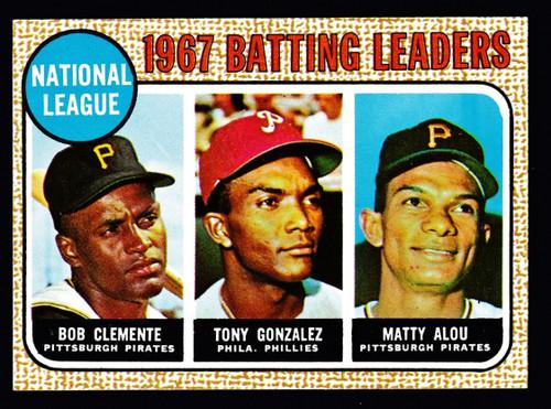 1968 Topps #001 NL Batting Leaders Clemente NM
