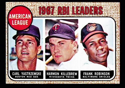 1968 Topps #004 AL RBI Leaders Yastrzemski Killebrew F. Robinson VG B