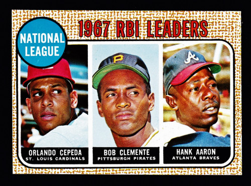 1968 Topps #003 NL RBI Leaders Aaron Clemente Cepeda NM+
