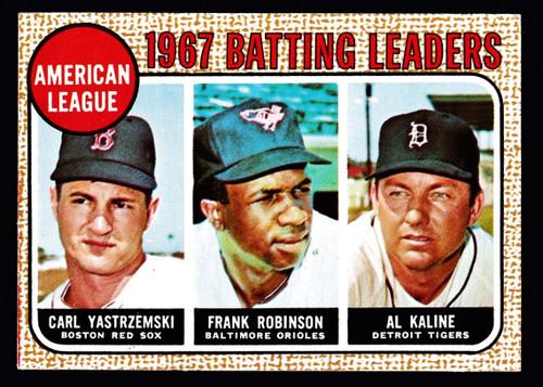 1968 Topps #002 Batting Leaders Yastrzemski F. Robinson Kaline EX-
