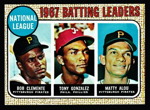 1968 Topps #001 NL Batting Leaders Clemente EX