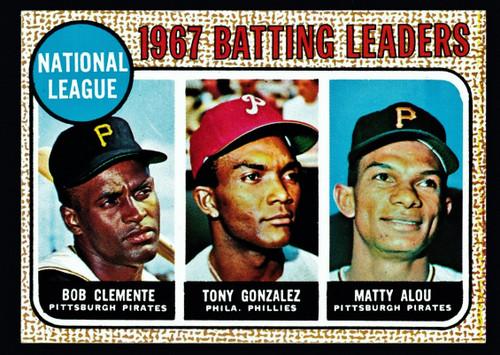 1968 Topps #001 NL Batting Leaders Clemente EXMT+
