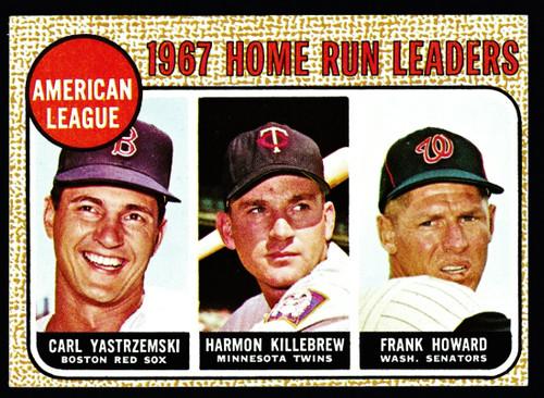1968 Topps #006 AL Home Run Leaders Yastrzemski Killebrew EX