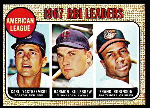1968 Topps #004 AL RBI Leaders Yastrzemski Killebrew F. Robinson EX
