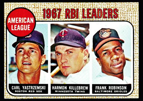 1968 Topps #004 AL RBI Leaders Yastrzemski Killebrew F. Robinson EX-