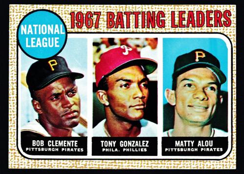 1968 Topps #001 NL Batting Leaders Clemente EXMT+ B