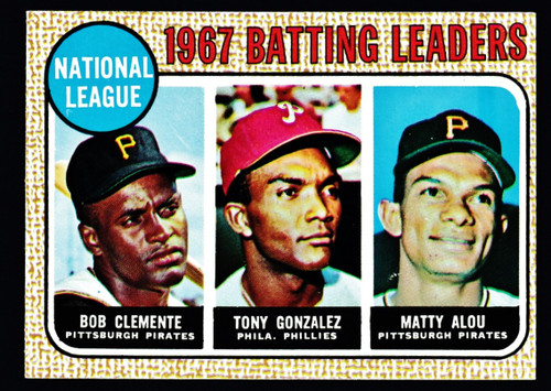 1968 Topps #001 NL Batting Leaders Clemente EXMT