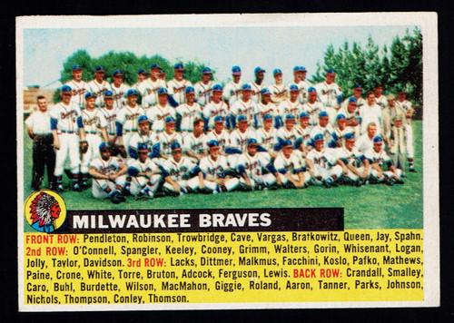 1956 Topps #095 Milwaukee Braves Team VG+