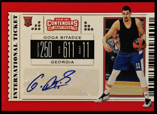 2019 Panini Contenders Draft Picks Auto #2 Goga Bitadze NMMT or Better