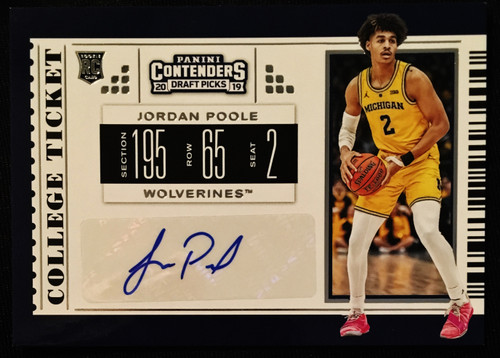 2019 Panini Contenders Draft Picks Auto #131Jordan Poole NMMT or Better