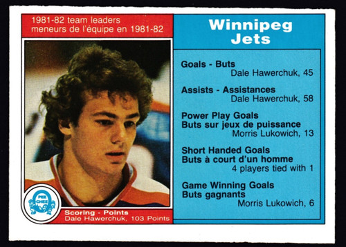 1982 OPC #374 Winnipeg Jets Leaders Hawerchuck VGEX