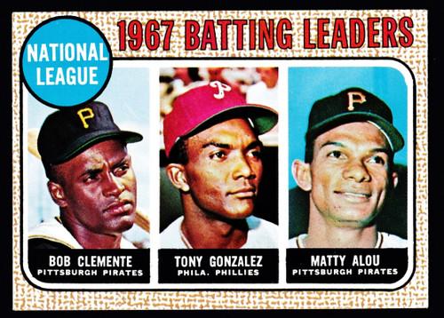 1968 Topps #001 NL Batting Leaders Clemente EX+