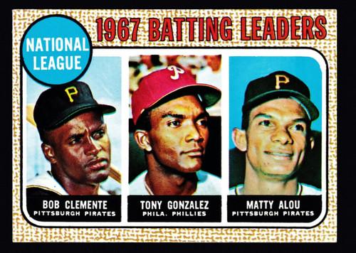 1968 Topps #001 NL Batting Leaders Clemente VG+